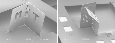 Polymer sheet are folded into a corner of a cube. Images obtained from MIT web site.